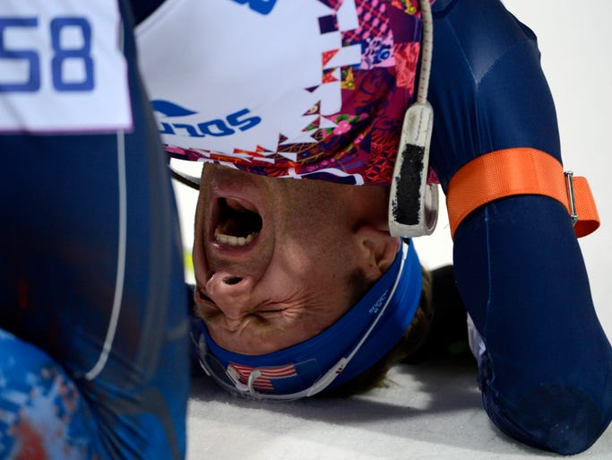 Lowell Bailey (USA) reacts at the end of the men's 20km individual biathlon.