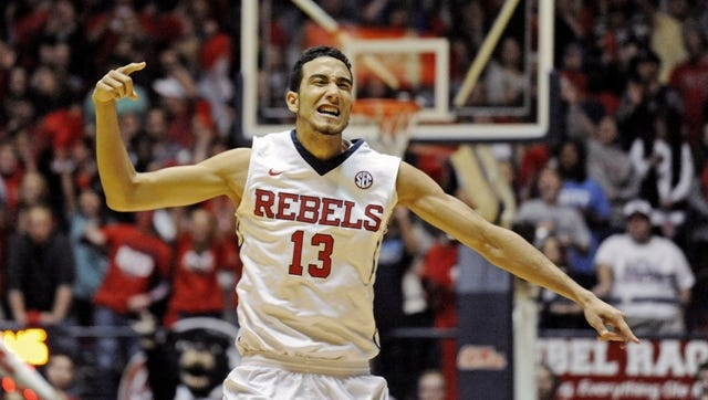 Mississippi forward Anthony Perez reacts after making a 3-point basket during the second half of an NCAA college basketball game against Florida in Oxford, Miss., Saturday, Jan. 24, 2015. Mississippi won 72-71. (AP Photo/The Daily Mississippian, Thomas Graning)