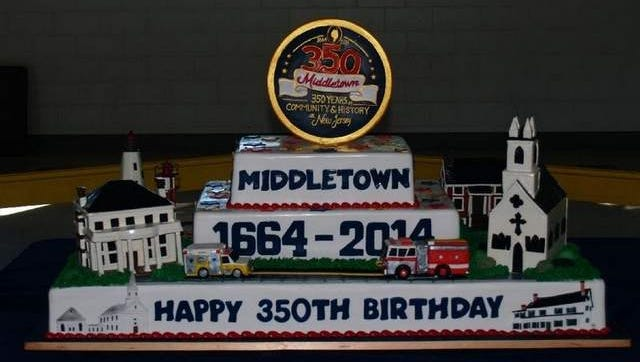 This cake was donated by Carlo's Bakery to celebrate Middletown 350 at Middletown Day