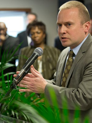 Michael Huber, CEO of Indianapolis Chamber of Commerce speaks about preparing young people to be job-ready at a press conference at Indiana Black Expo headquarters to talk about Your Life Matters, a local initiative that seeks to improve the lives of young men, and women, of color through government and private involvement, Tuesday, April 14, 2015.