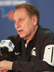 Michigan State coach Tom Izzo talks to reporters before