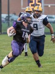 Lakeview junior Cameron Gillette (4) advances the ball