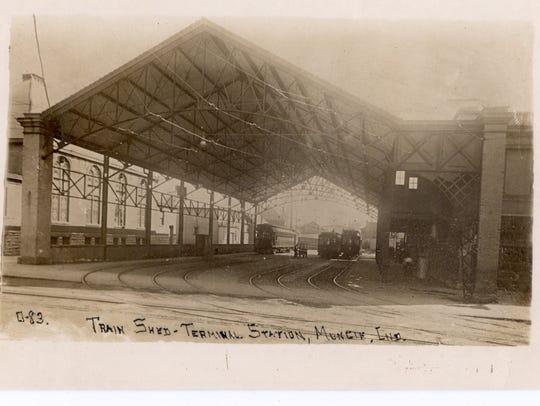 A postcard shows the Interurban train shed circa 1910.