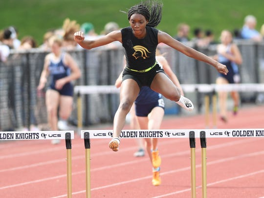 First day of Bergen County Track Championships at Old Tappan High School on Friday, May 11, 2018. Mariah Fede, of Paramus Catholic, on her way to finishing first in her division of the 400IH.