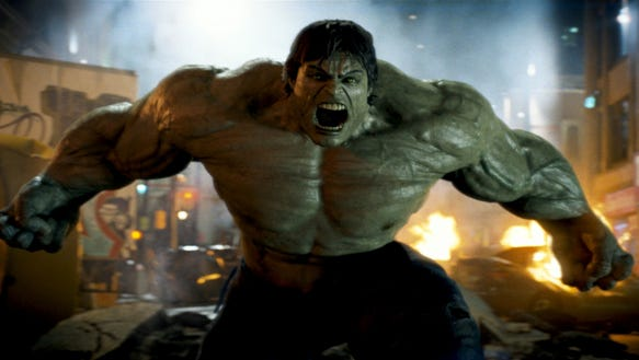The big guy on the rampage in 'The Incredible Hulk.'