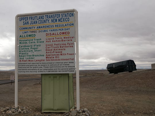 A sign informs visitors to the Upper Fruitland Transfer Station about what materials are allowed to be left.