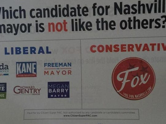A new mail advertisement paid for Texas-based Citizen Super PAC says David Fox is the only conservative in Nashville's mayoral race and that the other six candidates are liberals.