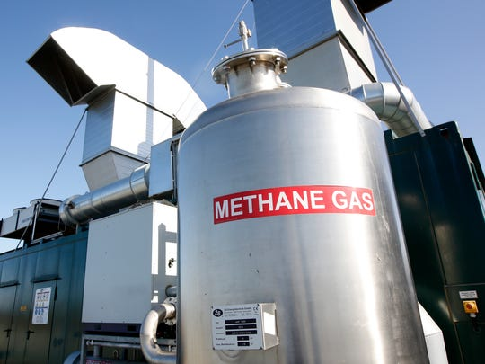 This is the methane digester at the New Hope Dairy in Galt, CA. Gov. Jerry Brown signed legislation in September that for the first time regulates heat-trapping gases from livestock operations and landfills.The digester takes the methane gas, collected from the raw cow manure held in a 1 million gallon tank, to generate renewable power for the grid.