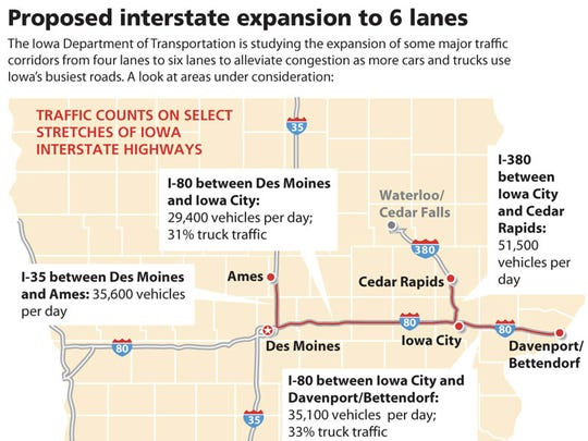 Proposed interstate expansion to 6 lanes