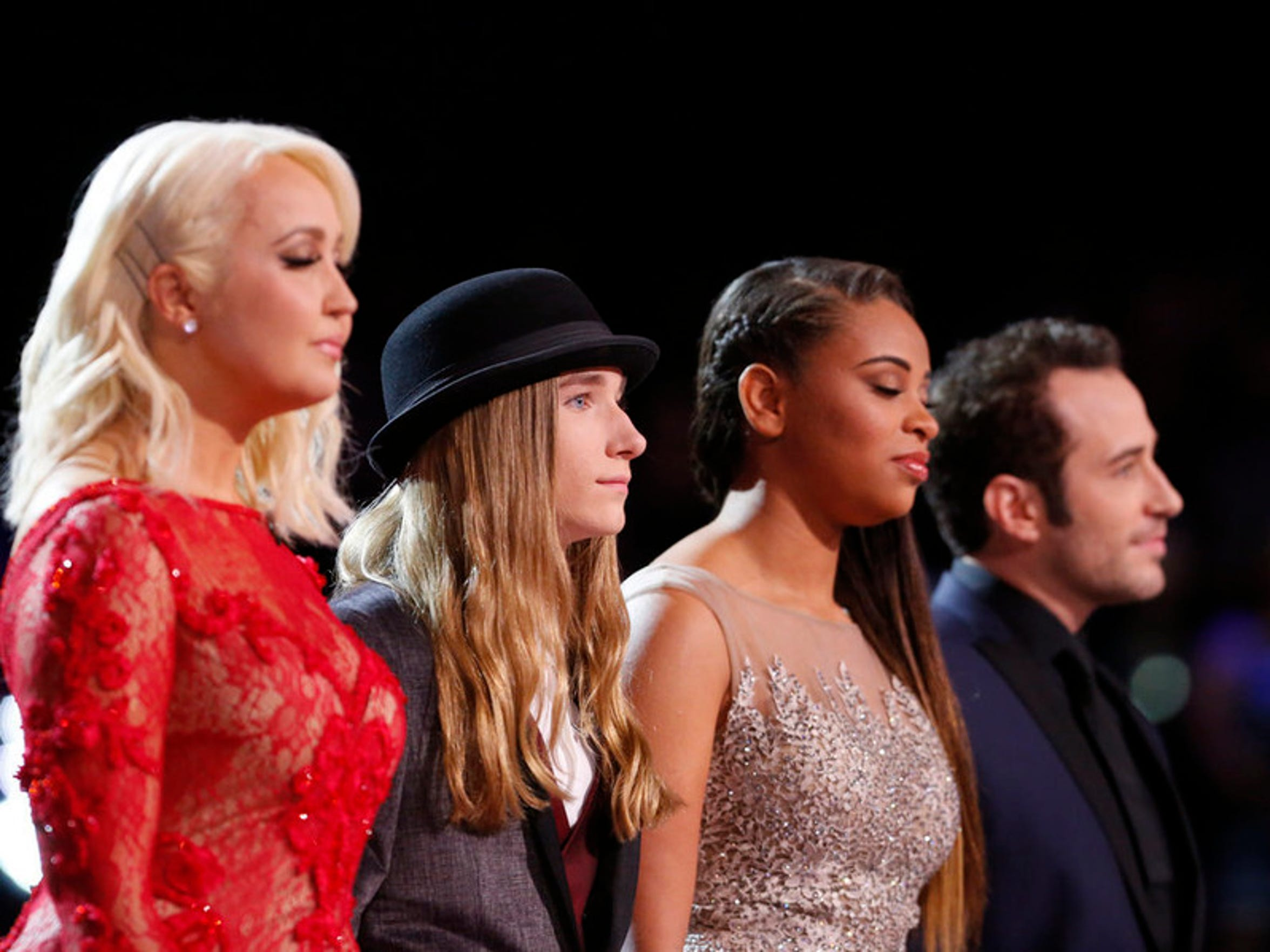 "THE VOICE -- ""Live Finals"" Episode 818B -- Pictured: (l-r) Meghan Linsey, Sawyer Fredericks, Koryn Hawthorne, Joshua Davis -- (Photo by: Trae Patton/NBC)"