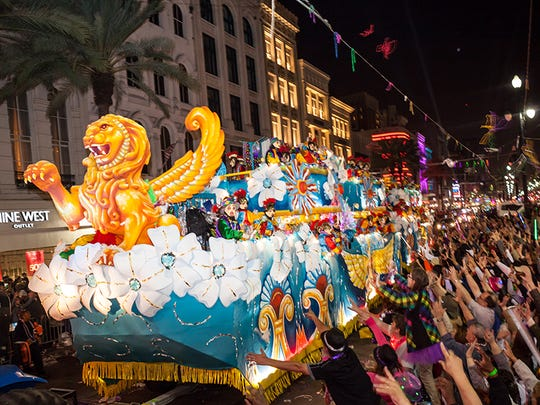 While there's no single New Orleans Mardi Gras parade, the biggest and most spectacular ones come in the days leading up to Fat Tuesday. Some processions have scores of floats, which may be longer than football fields.