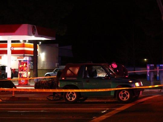 Redding police investigate at the scene of a fatal
