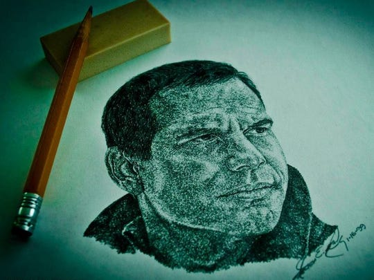 """A sketch of Bill Paxton from the film """"A Simple Plan,"""" drawn by Movie Addict Melissa King."""