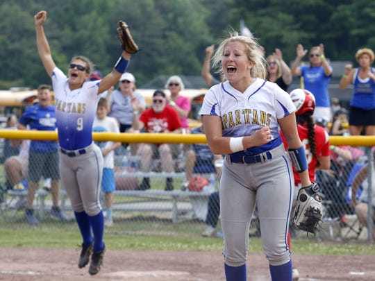 Maine-Endwell pitcher Emily Hess, right, and teammate Brooke Singer celebrate the final out of their 1-0 win over Williamsville East on Saturday in the Class A state final at Moreau Recreational Park in South Glens Falls.