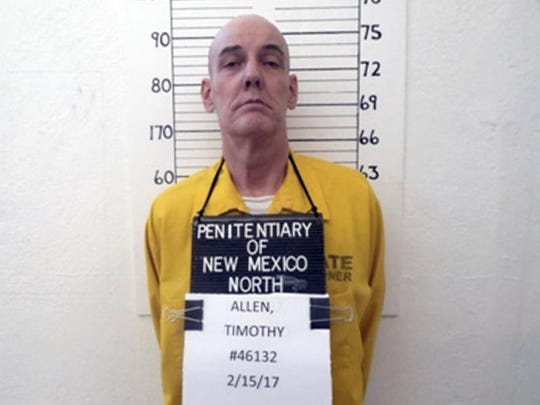 This Feb. 15, 2017, photo from the New Mexico Corrections Department shows inmate Timothy Allen, one of just two men remaining on the New Mexico's death row after the state repealed capital punishment in 2009. Defense attorneys for Allen and Robert Fry Tuesday, April 10, 2018, urged the state Supreme Court to consider an array of similar murder cases resulting in lighter sentences, as justices weigh whether to move forward with the executions in a state that no longer allows death sentences.