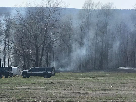 Smoke from the plane crash in West Milford.