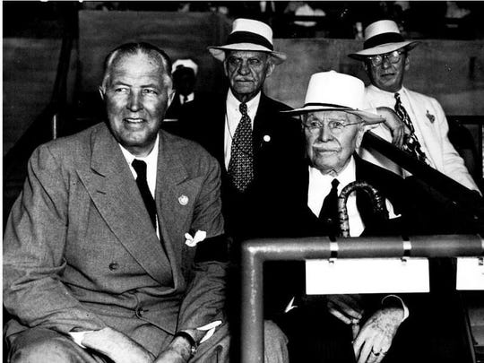 President Amory L. Haskell (left) of the Monmouth Park Jockey Club with Samuel D. Riddle, master of the Glen Riddle Farms. (1946)