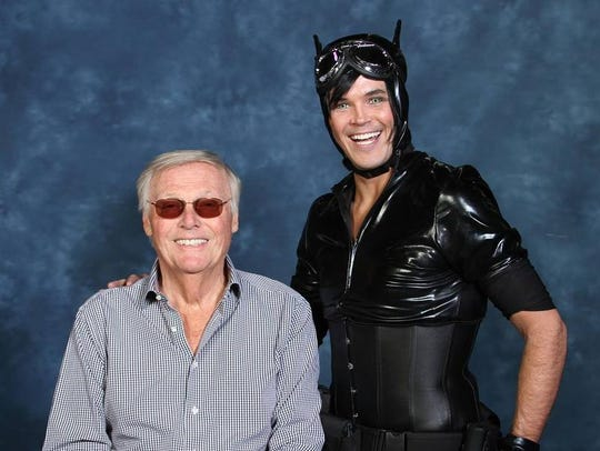 Matthew smiles absurdly after Adam West looked at his