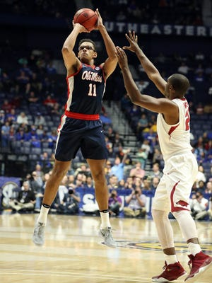 Sebastian Saiz (11), pictured in the SEC Tournament, recorded his 21st double-double of the season Tuesday, which is a single-season Ole Miss record.