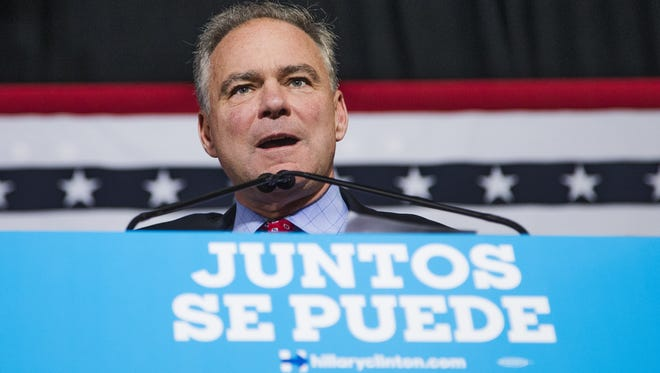 Democratic vice-presidential nominee Tim Kaine speaks in Spanish at the Maryvale Community Center in Phoenix on Nov. 3, 2016.