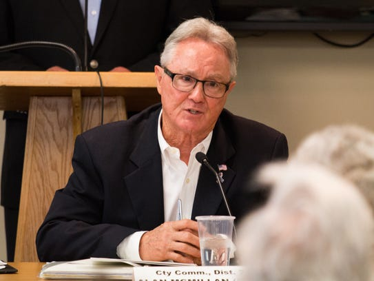 Alan McMillan speaks at a candidate forum hosted by