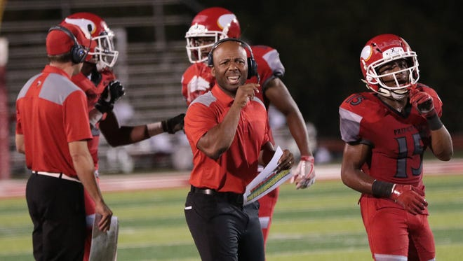 Princeton's head coach Mike Daniels during the Vikings game against Fairfield, Friday, Sept. 22, 2017.