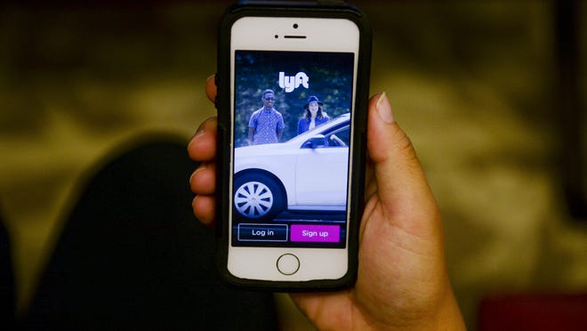 The Lyft mobile app is pictured here.