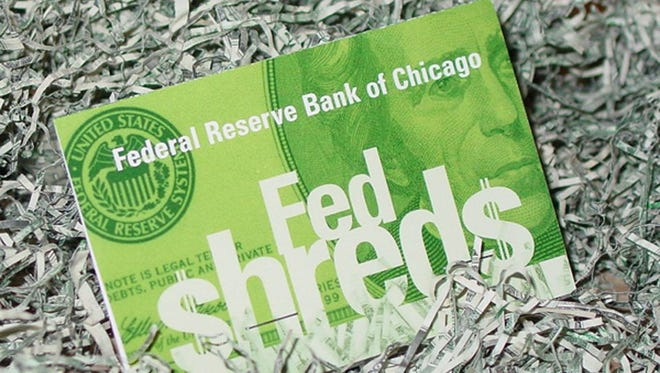 Shredded paper money at the Federal Reserve Bank of Chicago.  Credit: Federal Reserve Bank of Chicago.
