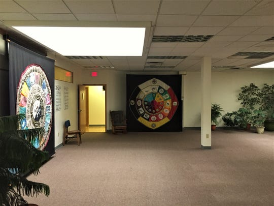 The main practice room in the Center features natural skylights, live plants, and Native American and Mayan calendars on large tapestries.
