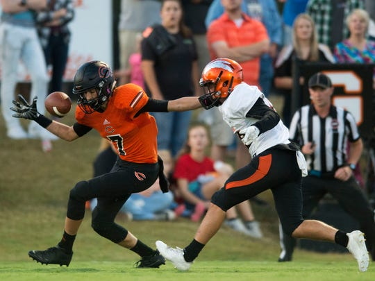 A pass intended for Coalfield's Peyton McKinney is