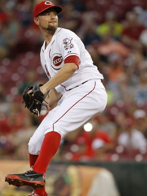 Reds starter Mike Leake delivers a pitch in the first inning on July 17.