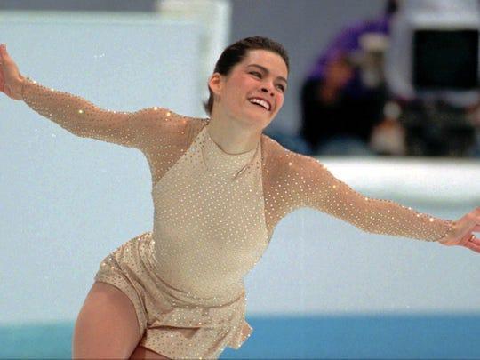 American figure skater Nancy Kerrigan performs her free skating program Friday, Feb. 25, 1994, in Hamar, Norway.