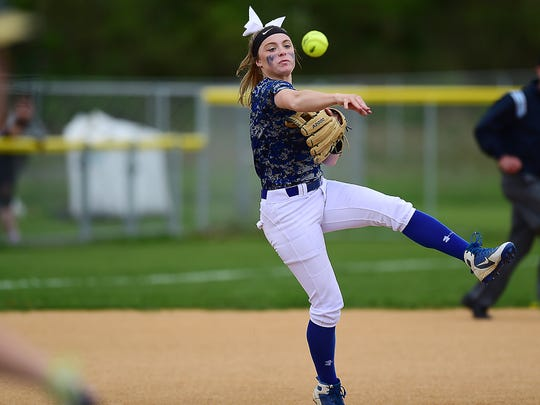 Horseheads Kendal Cook during Horseheads Blue Raiders vs. Susquehanna Valley Sabers, Southern Tier Athletic Conference softball final at Chenango Valley High School, May 16, 2018.