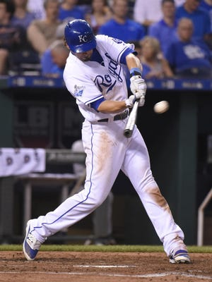 The Royals' Brett Eibner hits a home run in the fifth inning against the Detroit Tigers at Kauffman Stadium on Thursday night.