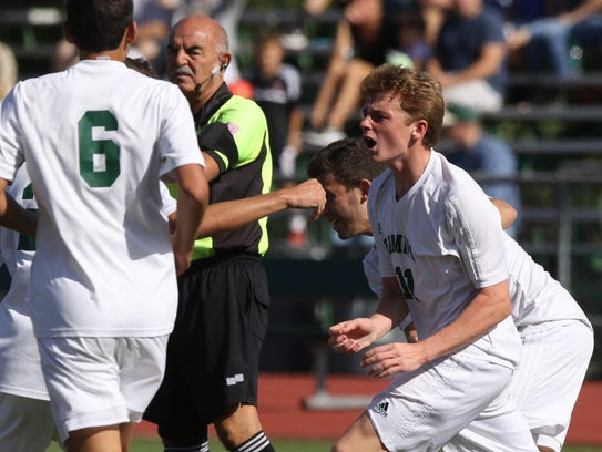 Ramapo celebrates their first goal of the game by Liam