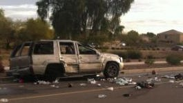 A pregnant woman and her fetus are in stable condition after a crash ejected them from an SUV on Monday morning, officials said.