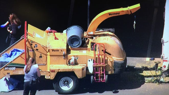 12News helicopter footage shows Chandler police investigating a death involving a wood chipper.