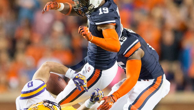 Auburn defensive back Nick Ruffin was penalized for targeting LSU wide receiver Trey Quinn on this hit and was ejected from Saturday's game.