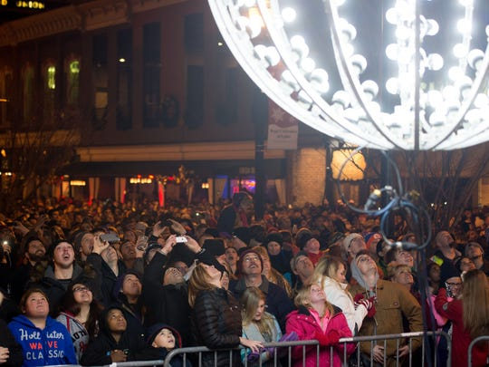 The ball drops at midnight during a New Year's Eve celebration at Market Square on Jan. 1, 2015.