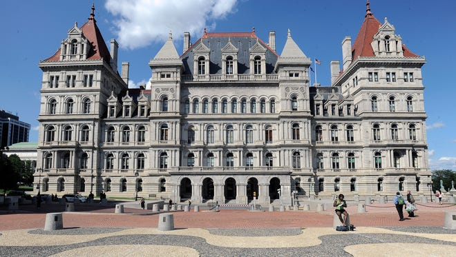Exterior view from the plaza of the New York state Capitol during a special legislative session at the Capitol on Wednesday, June 28, 2017, in Albany, N.Y.