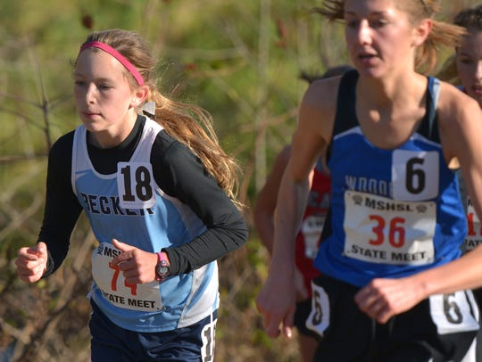 Becker eighth grader Lexi Dehmer (74) paces herself