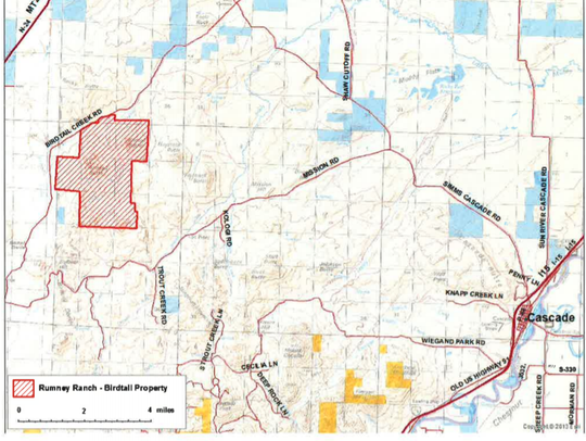 The location of the Birdtail conservation easement is shown in the red bordered area.