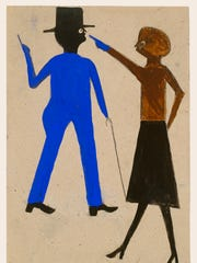 "Bill Traylor's ""Woman Pointing at Man with Cane,"" 1939-1942,"