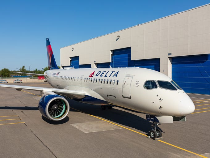 Delta's first Airbus A220 (formerly known as the Bombardier