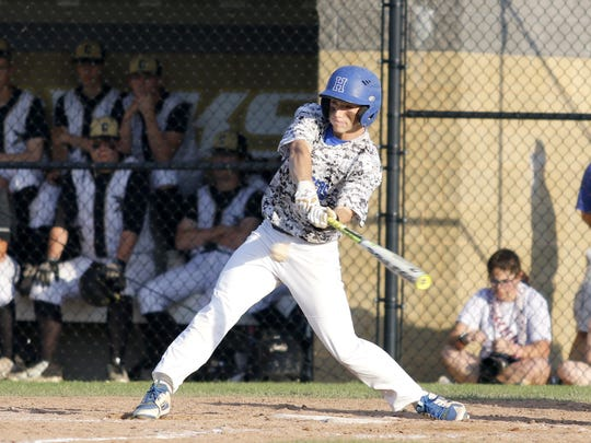 Zach Goodell of Horseheads takes a swing during Game 2 of the Section 4 Class AA championship series against Corning on May 23 at Corning-Painted Post High School.