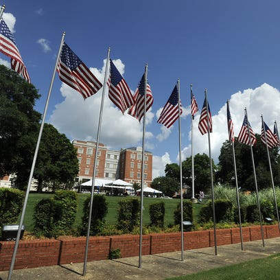 American flags fly during the Memorial Day observance