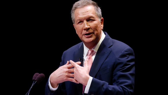 Ohio Gov. John Kasich, shown giving the 2018 State of the State address in Westerville.