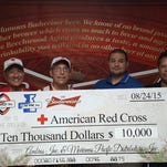 """In an effort to assist those affected by Typhoon Soudelor, Marpac Inc. and Ambros Inc. (Guam) will be donating $10,000 to the American Red Cross. Ambros Inc. General Manager Tom Shimizu stated, """"Our friends, family and neighbors in the CNMI need our help. As a family-owned company rooted deep within the community, we had to act. These donated funds will be used to provide urgently needed supplies."""" From left are: Tayna Belyeu-Camacho, Chairperson, ARC; Rick Lee, Vice Chair, ARC; John Hirsh, Executive Director, ARC; Guy Pudney, Resident Manager, Marpac; and Paul Camacho, Emergency Services Director, ARC."""