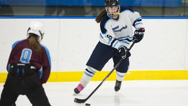 Anna Burke, shown here during the 2015-2016 high school season, scored the 100th point of her career Wednesday.