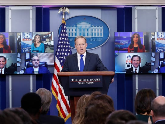 White House press secretary Sean Spicer takes a questions